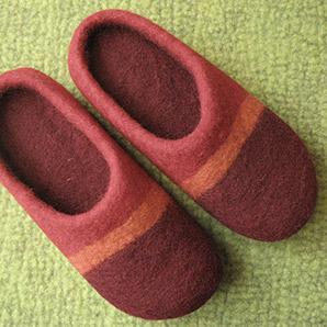 Pantoffeln Streifen rot orange